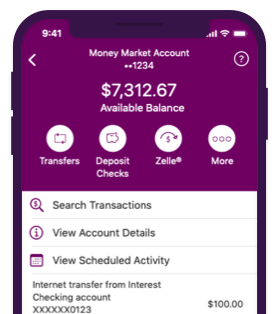 Money Market Account on Mobile Device