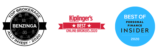 Benzinga Top Brokerage Ally Invest - 2020, Kiplinger's Best Online Brokers 2020, and Insider Best of Personal Finance 2020 Accolades