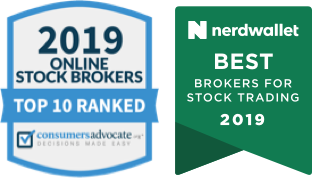 The 2019 Online Stock Brokers Top 10 Ranked Award and the Nerdwallet Best Brokers for Stock Trading 2019 award.