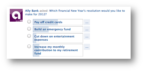 Ally Bank Facebook Poll- Financial New Year's Resolutions