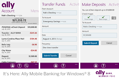 It's Here: Ally Mobile Banking for Windows® 8