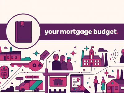 Guidebook icon with text, Your mortgage budget