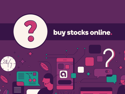 Question mark icon next to text, buy stocks online