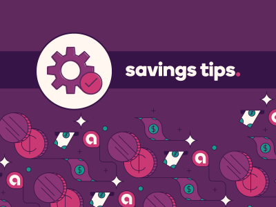 Gears icon with text, savings tips