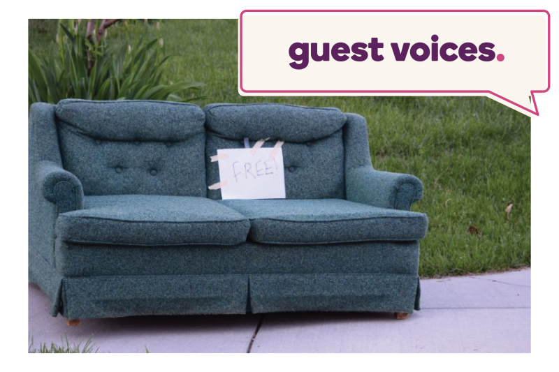 "Free couch on the curb. Image headlined ""Guest Voices"""
