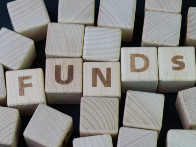 Funds spelled out with alphabet blocks
