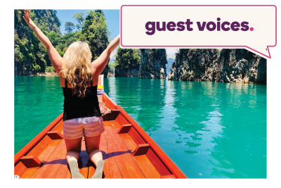 Emily in a red boat in a tropical landscape with Guest Voices written at the top