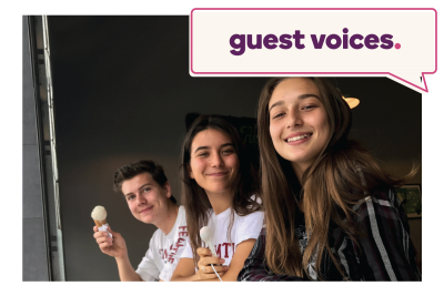 "Three kids with ice cream cones and ""Guest Voices"" written at the top"