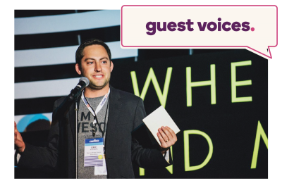 "Eric Rosenberg speaking, ""Guest Voices"" written above"