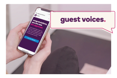 """Guest Voices"" banner next to a phone screen that says ""Congratulations, you are pre-approved"""
