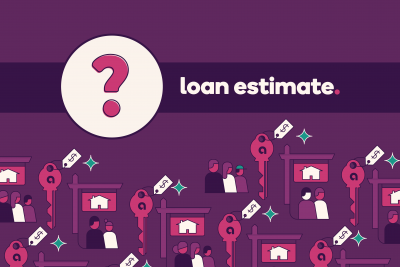 "Question mark icon with a banner stating ""Loan estimate."""