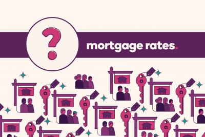 "Question mark icon with a banner that says ""Mortgage Rates"""