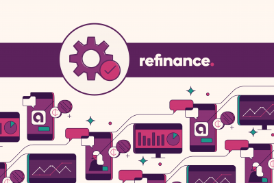 "Banner decorated with gear icon and the word ""Refinance"""
