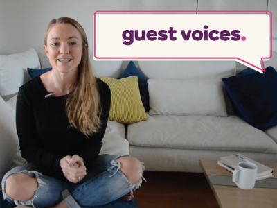 "Tess Wicks sits on the couch with a ""Guest Voices"" banner overhead"