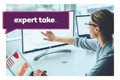 """Expert Take"" banner over a woman reading a stock chart on the computer"