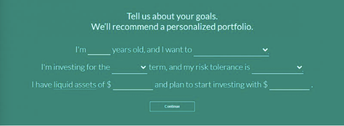 The graphic is a screengrab of the Ally Invest platform, which asks customers to tell us about themselves and their investment goals. Questions relate to age, type of account, term planned for investing, risk tolerance, assets and the amount designated to open the account.