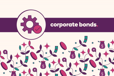 "Gears icon with text ""Corporate bonds."""