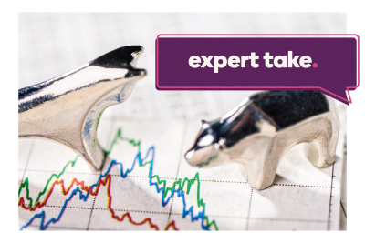 """Expert Take"" text in a speech bubble of bull and bear figurines standing on a stock chart"