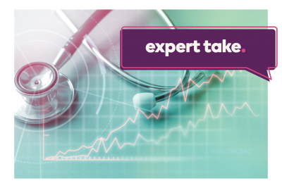 """Expert Take"" banner over stock charts and stethoscope"
