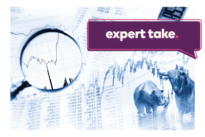 """Expert Take"" text over a stock graph under a magnifying glass"
