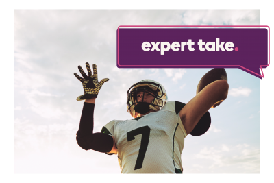 """Expert Take"" banner over football player throwing a football"