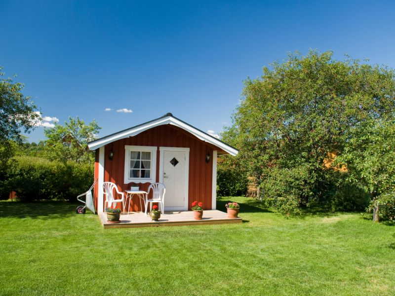 Separate tiny house style structure on a lawn