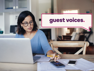 Guest Voices banner over woman working on her finances