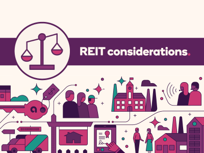 REIT considerations text next to weigh scale icons