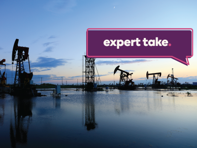 "Image shows several oil rigs on the ocean at sunrise. Caption reads: ""Expert Take""."