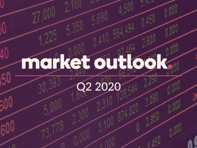 "Title reads: ""Market Outlook Q2 2020"", and has a digital series of numbers in the background."