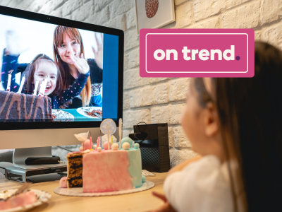 On Trend banner over young girls video chat to celebrate their birthdays