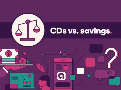 Weigh scale icon with text, CDs vs. Savings
