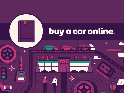 The graphic image shows people at a dealership, roads, wheels and cars. The title reads: Buy a Car Online.
