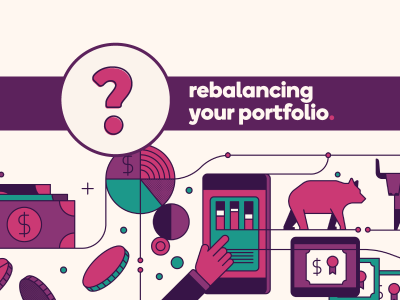 "Graphic shows icons of coins and a tablet with market charts. Title is ""Rebalancing your portfolio"""