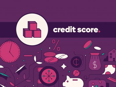 "The graphic image shows animated icons of money, coins, safes and a piggy bank. The caption is ""Credit Score"""