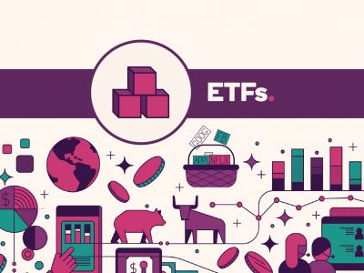 Building blocks icon with text, ETFs