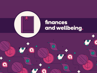 Guidebook icon with text, finances and wellbeing.