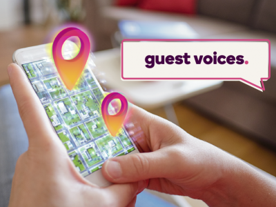 Guest Voices banner over image of a phone screen map with location tags
