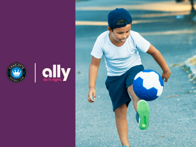 Charlotte FC and Ally logos next to image of child playing with a soccer ball on a park path