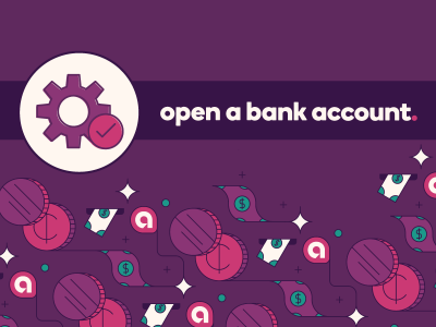 Gears icon with text, Open a bank account