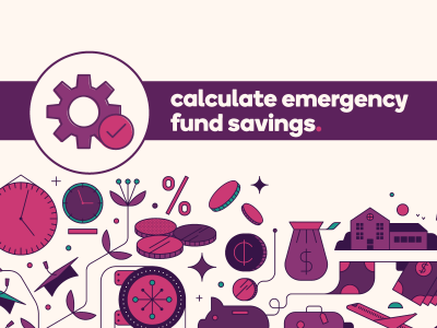 Gears icon next to text, Calculate emergency fund savings.