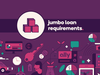 Building blocks icon with text, Jumbo loan requirements