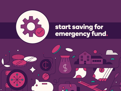 Gears icon with text, Start saving for emergency fund.
