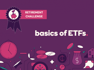 "Ally image reads ""Basics of ETFs"" and has a ""Retirement Challenge"" badge in the top left"