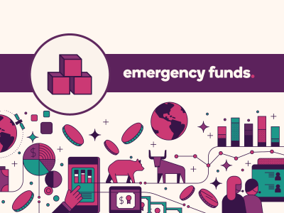 Building blocks icon with text, Emergency funds.