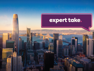 A sky view of San Francisco's Silicone Valley, with the text expert take