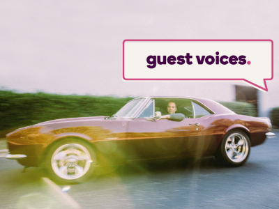 Guest Voices banner over an image of Jimmie Johnson in a vintage car