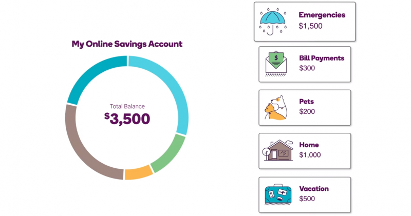 Graphic of an online savings account broken down into different savings categories. 1,500 dollars is allocated to emergencies, 300 dollars to bill payments, 200 dollars to pets, 1,000 dollars to home and 500 dollars to vacation