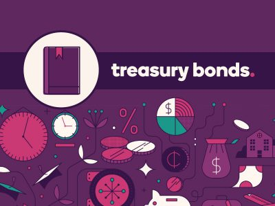Guidebook icon with text, Treasury Bonds