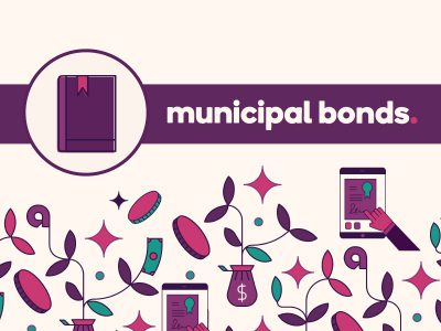 Guidebook icon with text: municipal bonds